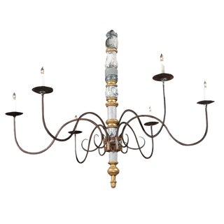 Italian Large Early 20th Century Six-Light Wood and Iron Candelabra Chandelier