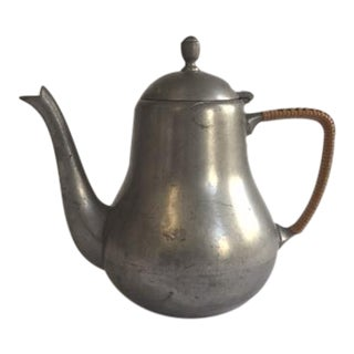Dutch Pewter Teapot With Rattan-Wrapped Handle