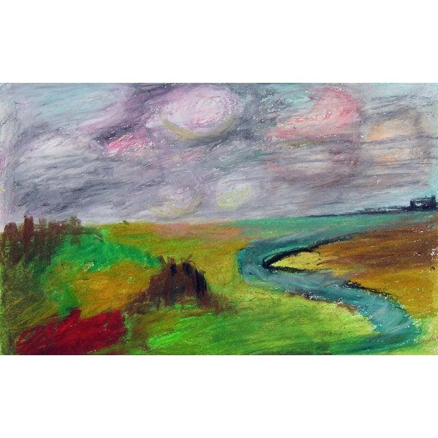 Image of Color Block Pastel Landscape Drawing