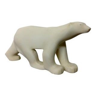 Marble Polar Bear Sculpture After Francois Pompon