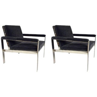 1970s Knoll Chrome & Mohair Lounge Chairs - A Pair