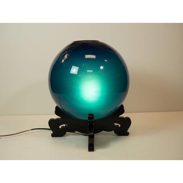 "Peacock Blue Japanese ""Crystal-Ball"" Lamp - Image 3 of 5"