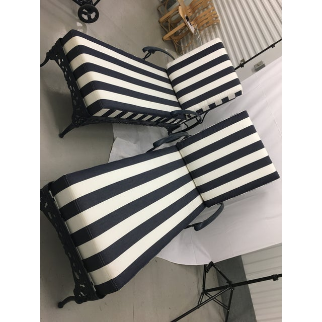 Blue And White Striped Chaise Lounge Cushions Of Brown Jordan Chaise Lounge Chairs Chairish
