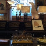 Image of Hollywood Regency Glass and Gold Barware Set
