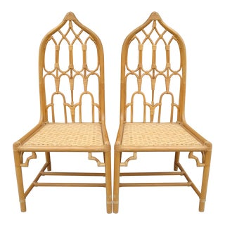 McGuire Rattan Chinoiserie Side Chairs - a Pair