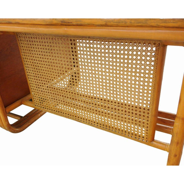 Restored Large Jean Royère Style Streamline Rattan Executive Desk - Image 8 of 8