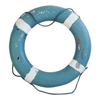 """28"""" 1950s Vintage Nautical Blue & White Life Preserver"""