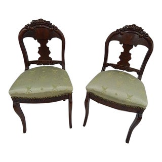 Antique Flame Mahogany Side Chairs - A Pair