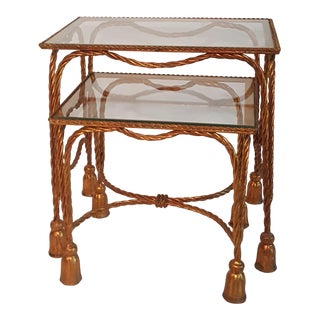 Italian Gilded Rope & Tassel Nesting Tables - A Pair