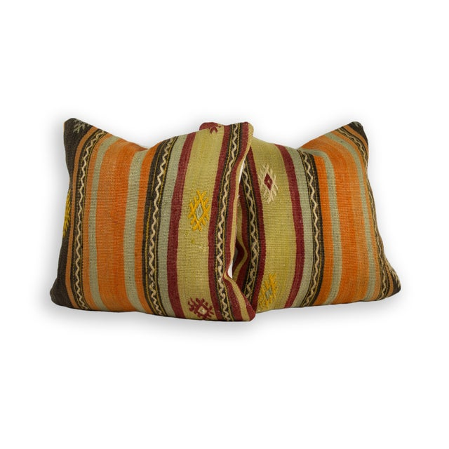 Hand Embroidery Over Hand-Loomed Pillows - a Pair - Image 1 of 2