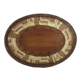 Primitive Rustic Wood & Woven Straw Bowl