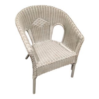 White Wicker Chair With Braided Traim