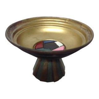 Mid Century Israeli Enameled Brass Footed Dish