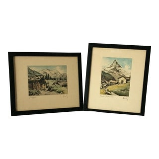 Pair of Hand Colored Etchings The M atterhorn by Lindy
