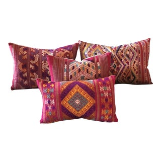 Colorful Embroidered Thai Silk Pillows