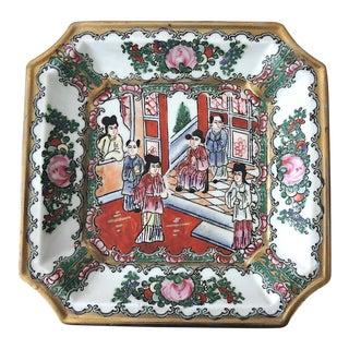 Square Rose Mandarin Enamel Plate