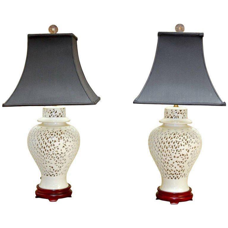 Blanc De Chine Porcelain Ginger Jar Table Lamps   A Pair