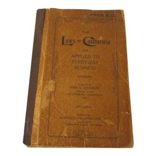 1913 Antique California Law Book