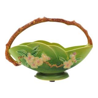 Antique Roseville Pottery Green Basket
