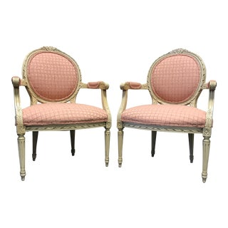 French Regency/Neo-Classical Style Pink Upholstered Accent Chairs - a Pair