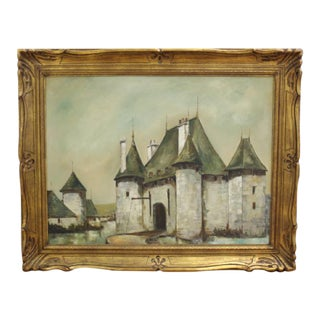 French Chateau Castle Oil Painting