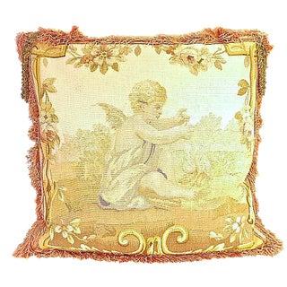 Antique Cherub & Gold Tassel Aubusson Pillow