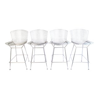 Harry Bertoia Knoll Signed Chrome Counter Stools - Set of 4