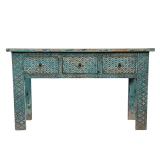 Carved Blue Elm Console Table