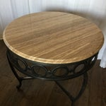 Image of Wrought Iron & Marble End Table