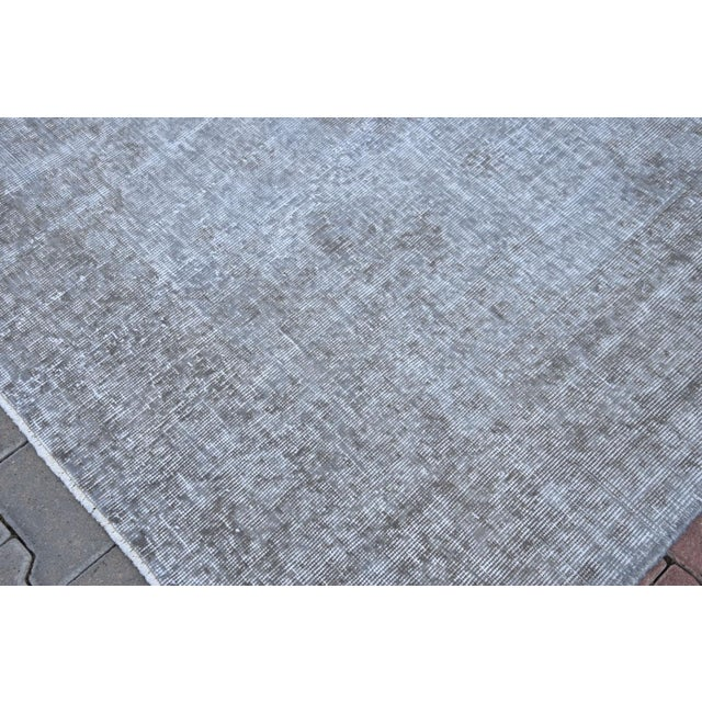 Vintage Distressed Silver Gray Handmade Turkish Oushak Rug - 7′2″ × 10′8″ - Image 5 of 6