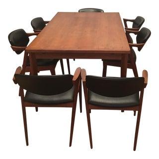 Brdr Furo Danish Dining Table & Kai Kristiansen Teak Chairs - Set of 8