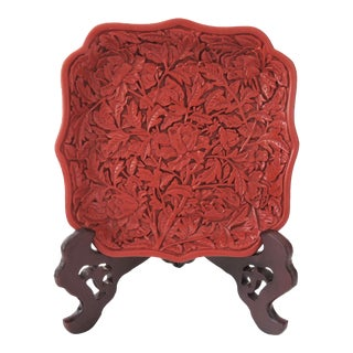 Red Cinnabar Tray/Catchall & Rosewood Stand