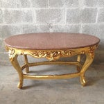 Image of French Gold Wood & Marble Top Coffee Table