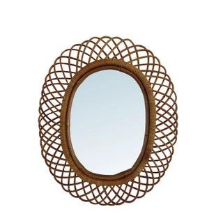 Mid-Century Rattan Mirror by Franco Albini
