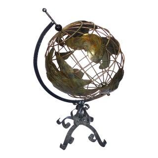 1970's Brass & Iron Globe