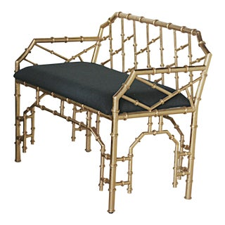 Hollywood Regency-Style Faux Bamboo Bench