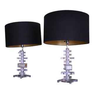 Vintage Lucite Table Lamps - A Pair