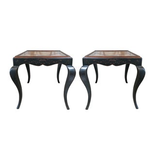 Baker Black & Brown Walnut Accent Tables - A Pair