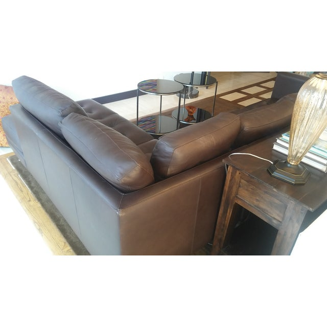 Tufted Dark Brown Leather Sectional - Image 5 of 6