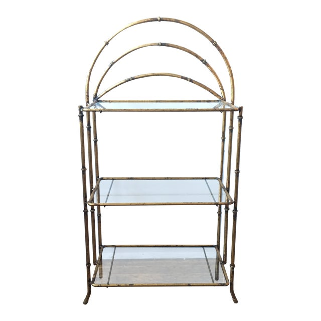 Gold Faux Bamboo Three Tiered Shelf - Image 1 of 7