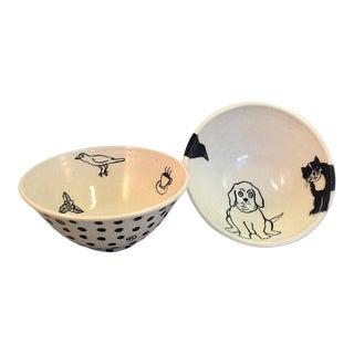 Handmade Pottery Pet Bowls - A Pair