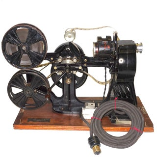 Pathe 28mm Hand Crank Motion Picture / Cinema Projector, circa 1918, W/ Rare 28mm Film. Offered As Artifact Sculpture.