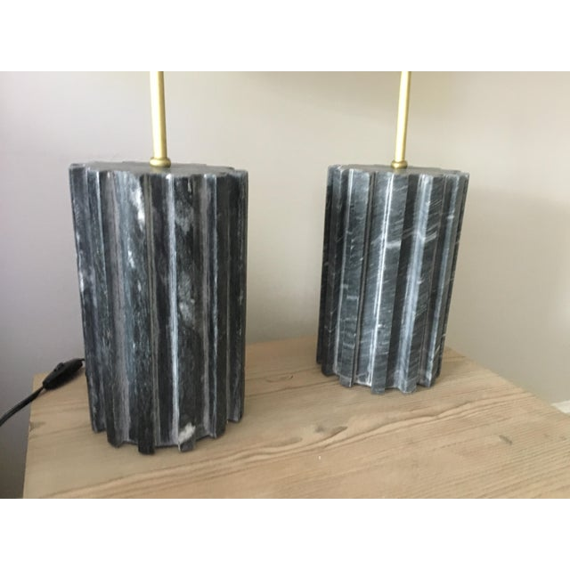Black Marble Modern Table Lamps - a Pair - Image 3 of 7