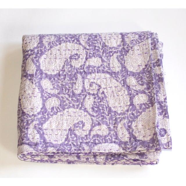 Purple Kantha Throw, Full Size - Image 2 of 3