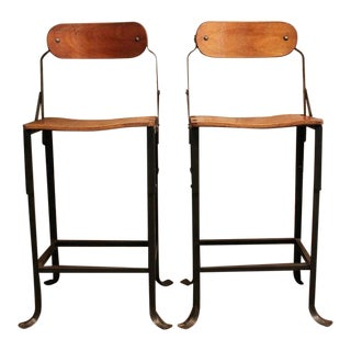 Pair of Vintage Industrial Domore Metal and Wood Adjustable Stools