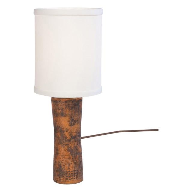 Image of Red Ceramic Lamp by Jacques Blin