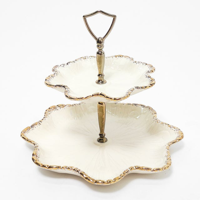 1950s California Two Tiered Serving Tray Chairish