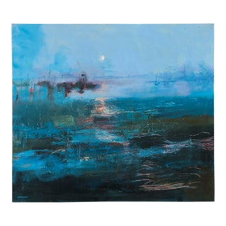 """Harbour Moon"", Original Oil on Canvas Painting, Mary Visser, South Africa, 2011"