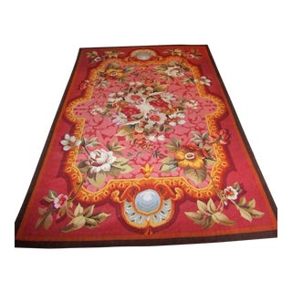 Large Floral Needlepoint Rug - 5' × 8'