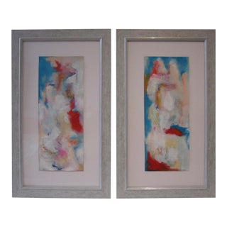 Abstract Acrylic Paintings on Paper - a Pair